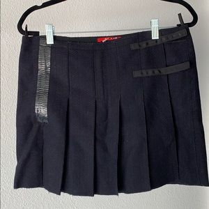 Prada wrap short wool skirt